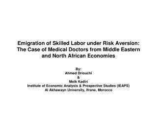 Emigration of Skilled Labor under Risk Aversion: The Case of Medical Doctors from Middle Eastern and North African Econo