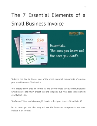 The 7 Essential Elements of a Small Business Invoice
