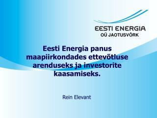 Eesti Energia panus maapiirkondades ettevõtluse arenduseks ja investorite kaasamiseks.