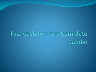 Ultimate Fast Cash fo Cars guide 2012