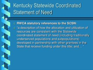 Kentucky Statewide Coordinated Statement of Need