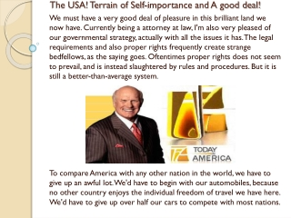 The USA! Terrain of Self-importance and A