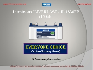 Best Luminous INVERLAST - IL 1830FP (150ah) Battery