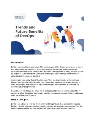 Trends and Future Benefits of DevOps - CodeStore Technologies