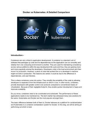Docker vs Kubernetes - A Detailed Comparison | CodeStore Technologies