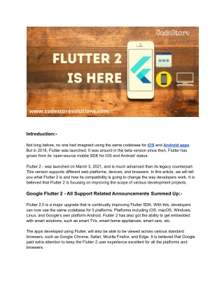 Google Releases Flutter 2 With Support For Multiple Platforms