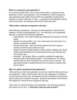 Progressive Web Apps—The Next Step in Web App Development