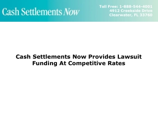 Lawsuit Funding At Competitive Rates - Cash Settlements Now