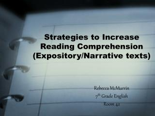 Strategies to Increase Reading Comprehension (Expository/Narrative texts)