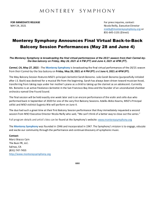 Monterey Symphony Announces Final Virtual Back-to-Back Balcony Session Performances (May 28 and June 4)