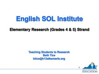 English SOL Institute Elementary Research (Grades 4 & 5) Strand
