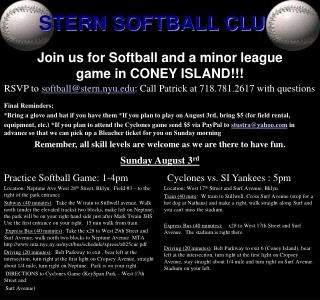 Join us for Softball and a minor league game in CONEY ISLAND!!!
