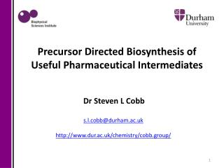 Dr  Steven  L Cobb s.l.cobb@durham.ac.uk http:// www.dur.ac.uk/chemistry/cobb.group/