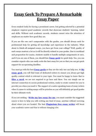 Essay Geek To Prepare A Remarkable Essay Paper