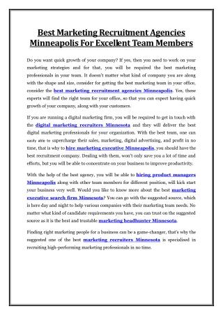 Best Marketing Recruitment Agencies Minneapolis For Excellent Team Members