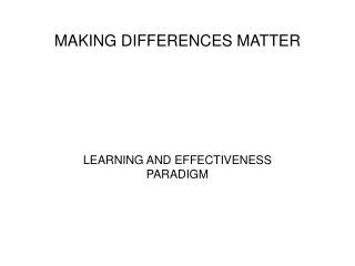 making differences matter