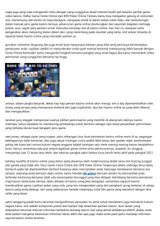 Laporan Agen Game Ceme Online dan  IDN Poker Online: Kasino Online Amerika Sekut