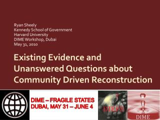Existing Evidence and Unanswered Questions about Community Driven Reconstruction