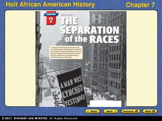 Section 1 The Jim Crow Era Section 2 The Progressive Movement Section 3 African Americans Move West Section 4 Black Achi