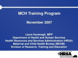 MCH Training Program November 2007
