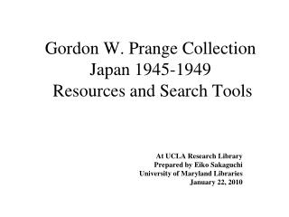 Gordon W. Prange Collection Japan 1945-1949   Resources and Search Tools