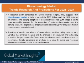 Biotechnology market growth drivers in 2021 & Challenges by 2027