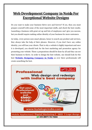 Web Development Company in Noida For Exceptional Website Designs