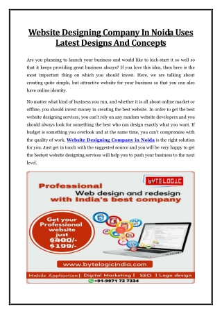 Website Designing Company In Noida Uses Latest Designs And Concepts