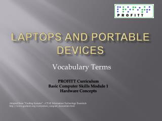 Laptops and Portable Devices