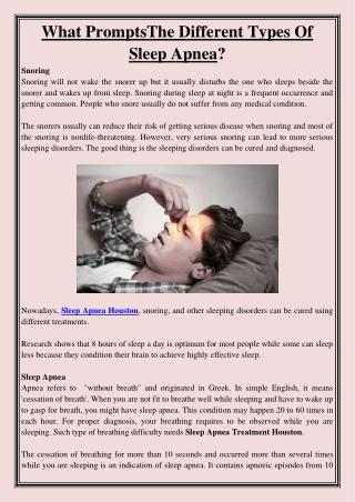 What PromptsThe Different Types Of Sleep Apnea