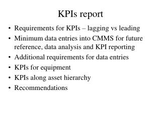 KPIs report