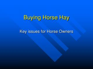 Buying Horse Hay