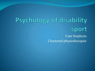 Psychology of disability sport