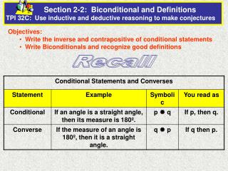 Section 2-2:  Biconditional and Definitions                              TPI 32C:  Use inductive and deductive reasoning