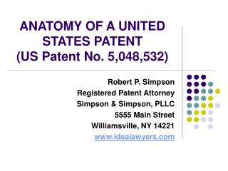 ANATOMY OF A UNITED STATES PATENT US Patent No. 5,048,532