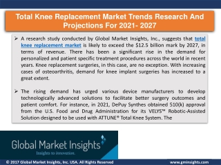 Total knee replacement market report for 2027 – Companies, applications, product