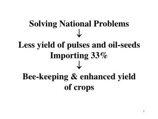 Solving National Problems  Less yield of pulses and oil-seeds Importing 33  Bee-keeping  enhanced yield of crops