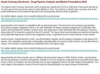 Acute Coronary Syndrome Drug Pipeline Analysis and Market