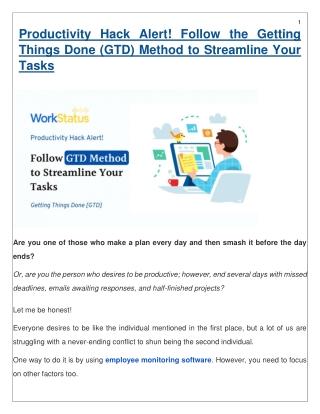 Productivity Hack Alert! Follow the GTD Method to Streamline Your Tasks