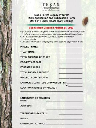 Texas Forest Legacy Program 2009 Application and Submission Form  (for FY11 USFS Fiscal Year Funding)