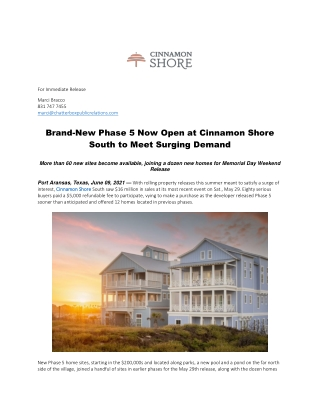 Brand-New Phase 5 Now Open at Cinnamon Shore South to Meet Surging Demand