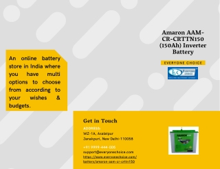 Buy Amaron AAM-CR-CRTTN150 (150Ah) Inverter Battery