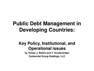 Public Debt Management in Developing Countries: