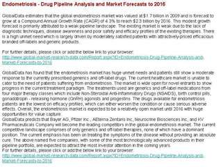 Endometriosis - Drug Pipeline Analysis and Market Forecasts