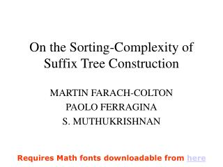 On the Sorting-Complexity of Suffix Tree Construction