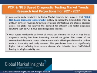 PCR & NGS based diagnostic testing market trends research and projections for 20
