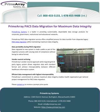 PrimeArray PACS Data Migration for Maximum Data Integrity