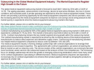 Outsourcing in the Global Medical Equipment Industry The M