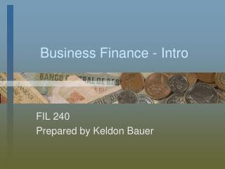 Business Finance - Intro