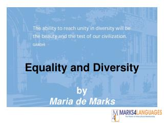 Equality and Diversity by Maria de Marks